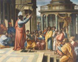 São Paulo se dirigiu a Atenas, cidade na qual brilharam grandes oradores, como Demóstenes, Platão e Aristóteles. Ali o Apóstolo das gentes vai pregar Cristo que ressuscitou dos mortos e expandirá a Santa Igreja de Deus.