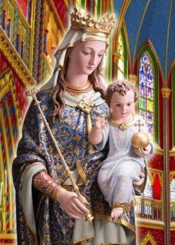 """Maria é como uma mãe que intercede junto a um filho em benefício de outro irmão deste: É impossível não a atender. Daí seu título de """"Onipotência suplicante""""."""