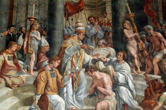 Constantino foi pego pela lepra. São Pedro e São Paulo lhe apareceram e disseram que seria curado se fosse batizado. São Silvestre o batizou e ele foi curado assim que terminou a cerimônia. Era o ano de 324.