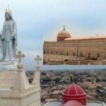 A imagem colocada na torre do Santuário tem um simbolismo: é o renascer da fé na cidade que já foi dominada por jihadistas do Estado Islâmico.